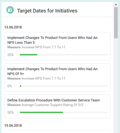 Screenshot showing target live dates for your team, teams or company's initiatives